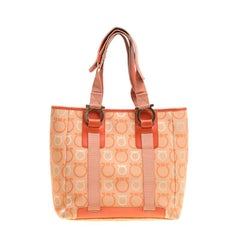 Salvatore Ferragamo Orange Gancini Canvas Tote