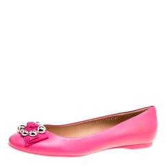 Salvatore Ferragamo Pink Leather Flair Ballet Flats Size 41
