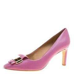 Salvatore Ferragamo Pink Leather Gracy Fringe Detail Pumps Size 40.5