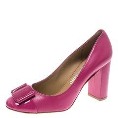 Salvatore Ferragamo Pink Leather Patrece Block Heel Pumps Size 40