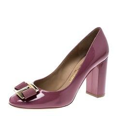 Salvatore Ferragamo Pink Patent Leather Ninna Pumps Size 39.5