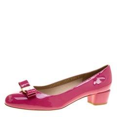 Salvatore Ferragamo Pink Patent Leather Vara Bow Block Heel Pumps Size 41