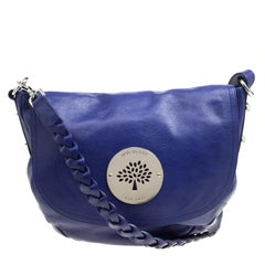 Mulberry Blue Grained Leather Daria Shoulder Bag