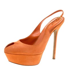 c1e091547e57 Sergio Rossi Orange Suede Cachet Peep Toe Platform Slingback Sandals Size 36