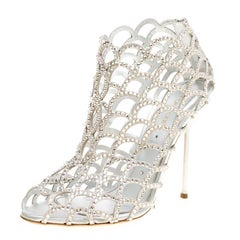 Sergio Rossi Silver Crystal Embellished Scalloped Suede Peep Toe Caged Booties S