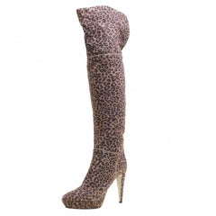 Sergio Rossi Taupe Leopard Print Suede Over The Knee Platform Boots Size 41