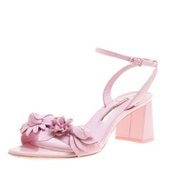 Sophia Webster Pink Leather Lilico Floral Embellished Ankle Wrap Sandals Size 39