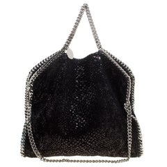 Stella McCartney Black Sequins and Velvet Small Falabella Tote