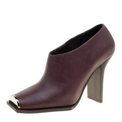 Stella McCartney Burgundy Faux Leather Square Metal Toe Booties Size 36