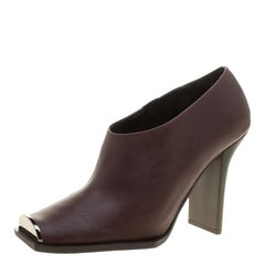 Stella McCartney Burgundy Faux Leather Square Toe Ankle Boots Size 38