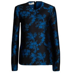 Stella McCartney FW'16 Black and Blue Floral Jacquard Long Sleeve Top M