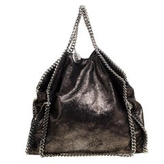 Stella McCartney Metallic Black Faux Leather Small Falabella Tote