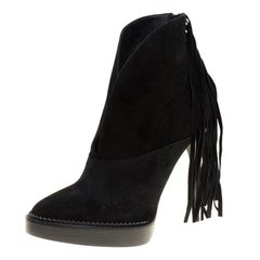Burberry Prorsum Black Fringed Suede Nadie Ankle Boots Size 39