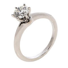 Tiffany & Co. 1.12ct Solitaire Diamond & Platinum Engagement Ring Size 55