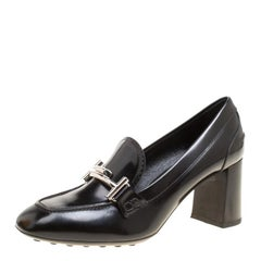 Tod's Black Leather Gomma Maxi Double T Court Loafer Pumps Size 38