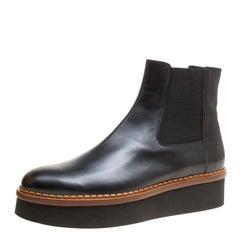 Tod's Black Leather Slip On Platform Ankle Boots Size 41