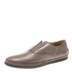 Tod's Beige Leather Francesina Espadrille Slip On Sneakers Size 45.5