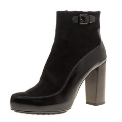 Tod's Black Suede and Leather Ankle Boots Size 40