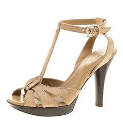 Tod's Beige Suede T-Strap Peep Toe Platform Sandals Size 35