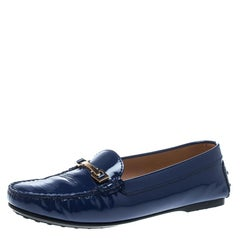Tod's Blue Patent Leather Horsebit Loafers Size 38.5