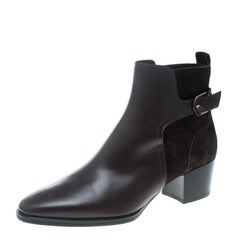 Tod's Brown Leather and Suede Block Heel Ankle Boots Size 37