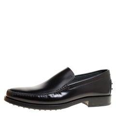 Tod's Black Glazed Leather Loafers Size 45