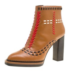 Tod's Brown Leather Gipsy Cross Stitch Detail Block Heel Ankle Boots Size 36