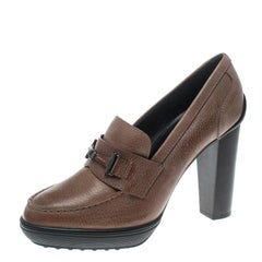Tod's Brown Leather Loafer Pumps Size 40
