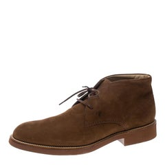 Tod's Brown Nubuck Lace Up Chukka Ankle Boots Size 44