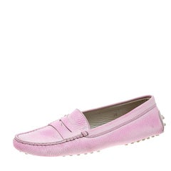 Tod's Fluorescent Pink Shaded Leather Penny Loafers Size 38