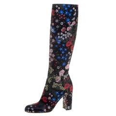 Valentino Black Spring Garden Brocade Knee Length Boots Size 40