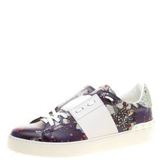 Valentino Purple Floral Printed Leather Open Sneakers Size 38