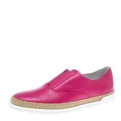 Tod's Fuchsia Pink Leather Francesina Espadrille Slip On Sneakers Size 37.5