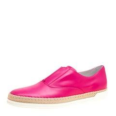 Tod's Fuchsia Pink Leather Francesina Espadrille Slip On Sneakers Size 40