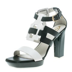 Tod's Green and White Leather Cutout Platform Sandals Size 39.5