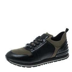 Tod's Khaki Green/Black Knit Fabric and Leather Pebbled Heel Slip On Sneakers Si