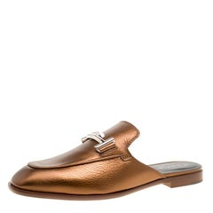 Tod's Metallic Bronze Leather Double T Flat Mules Size 38