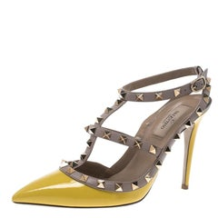 Valentino Yellow and Beige Leather Rockstud Sandals Size 38