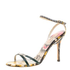 Valentino Multicolor Floral Printed Leather Ankle Strap Open Toe Sandals Size 39