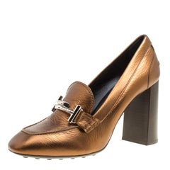 Tod's Metallic Bronze Leather Gomma Maxi Double T Court Loafer Pumps Size 39