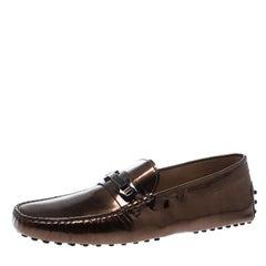 Tod's Metallic Bronze Leather Macro Clamp Loafers Size 42.5