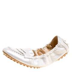 Tod's Metallic Silver Suede Penny Loafer Scrunch Flats Size 36.5