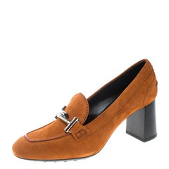 Tod's Orange Suede Gomma Maxi Double T Court Loafer Pumps Size 38