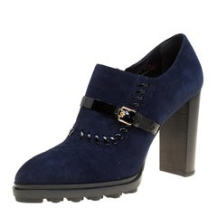 Tod's Oxford Blue Suede Block Heel Ankle Booties Size 40.5