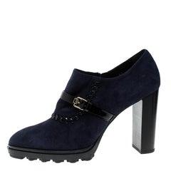 Tod's Oxford Blue Suede Block Heel Booties Size 41