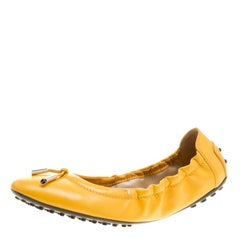 Tod's Yellow Leather Bow Scrunch Ballet Flats Size 37