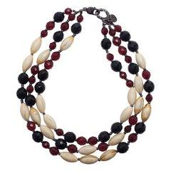 Giorgio Armani 3-Strängiges Perlenbesetztes Halsband