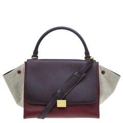 Celine Tri Color Leather/Canvas Medium Trapeze Bag