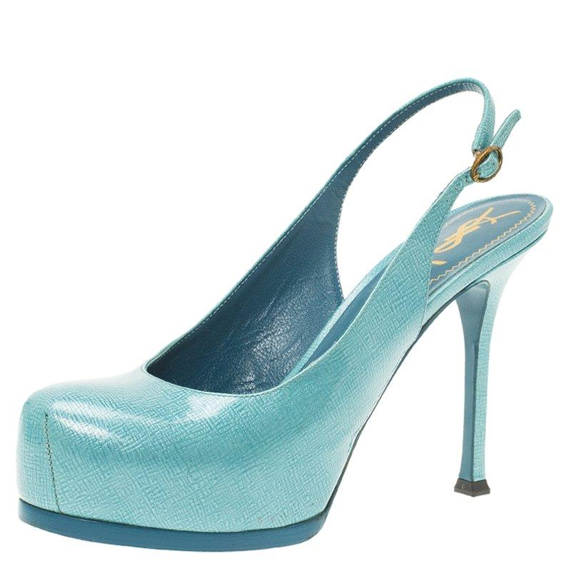 saint laurent paris light blue patent tribtoo slingback sandals size rh 1stdibs com