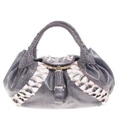 Fendi Grey Limited Edition Beaded Spy Bag